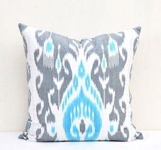 Grey and turquoise blue Pillow cover IkatSize  20 by IkatSuzanicom, $24.99