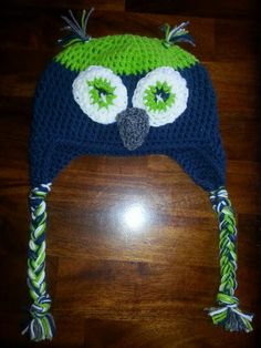 Seattle Seahawks crochet bird hat