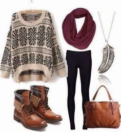 "Print sweater, burgundy infinity scarf, black leggings, and adorable ""hiking"" boots."