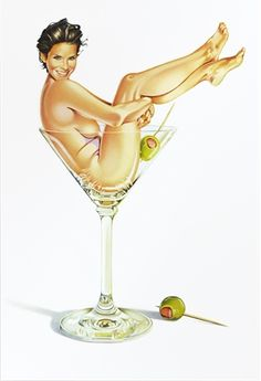 Mel Ramos: Miss Martini #2.  'Miss Martini' portrays actress Sandra Bullock as a classic pin-up, posed nude in a martini glass.