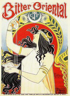 """Art Nouveau advertisement by Henri Privat-Livemont """"Bitter Oriental"""""""