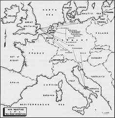 "On Feb. 20, 1944, the Allies launched Operation Argument (""Big Week""), an aerial attack on German industry; RAF bombers flew 2300 sorties, the US Eighth Air Force flew 3300 from England, and the US Fifteenth Air Force flew 500 from Italy. (USAF map)"