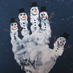 January Snowman Handprint Art