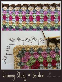 crochet blankets, beauti stitch, crochet border pattern blanket, granny square crochet edge, granny square blanket border, blanket edg, lana de, edg diagram