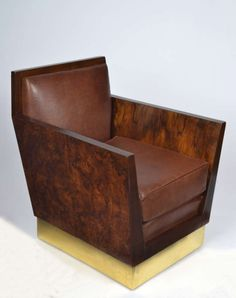 French Art Deco Burled Walnut Armchair