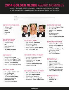 Printable Golden Globes Ballot 2014
