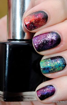Multi Colored Galaxy nails