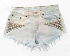 Vintage, cutoff, shredded,  destroyed,  grunge, omen eye, short, shorts, studded, distressed, denim, high waisted, cut off, omeneye.com