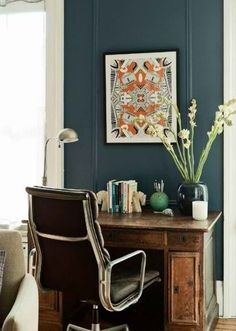 #paint #color maybe for the door decor, wall colors, desk space, bachelor pad, interior, blue wall, offic, desks, hous