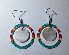 Blanket Hoop Earrings With Shells. $20.00, via Etsy.