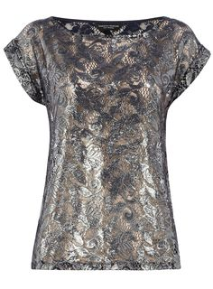 Navy foil lace tee  #Dorothy_Perkins
