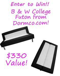 {Giveaway} Win a Black & White College Futon from Dormco.com - $330 Value! LOW Entries!