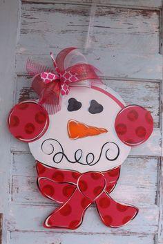 In Stock Snowman Door hanger Valentine's Day by BluePickleDesigns, $45.00