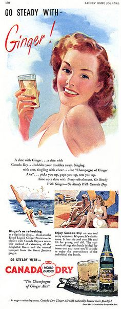 A date with Ginger...a date with Canada Day...bubbles your troubles away.  #vintage #food #drinks #Ginger_Ale #1940s #beach