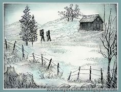 winter scene card...delightful use of stamps and ink to create a winter walk scene...