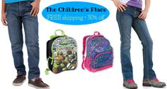 The Children's Place:  Today Only!  FREE Shipping on EVERY Order + Add'l 30% Off! GREAT Deals on Jeans & Backpacks!