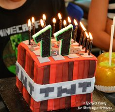 Cake at a Minecraft Party #minecraft #partycake