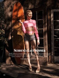 Summer glam in darring prints and bare legs. Ginta Lapina by Jan Welters for ELLE UK, May 17