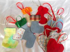 SCRAPPY JEAN & CLOTH CHRISTMAS ORNAMENTS