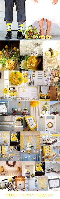 Grey & Yellow wedding theme with yellow roses, a lemonade stand, yellow and grey ribbon favors, lemon bars at the sweets center, grey beer cozie, yellow pom pom, yellow shoes, yellow argyle socks,