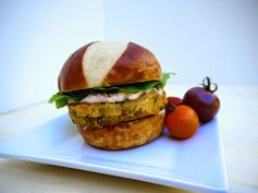 Eighty Twenty: 80--- Split Pea and Sweet Potato Burgers with Caramelized Onion and Feta Aioli- the best lentil and sweet potato burger recipe ever!