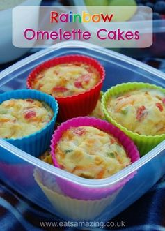 Rainbow Omelette Cakes recipe from Eats Amazing UK - fun picnic food and easy recipe for kids, just mix up and bake them in the oven