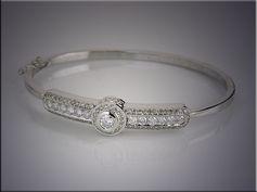 14K White Gold Ideal Cut Diamond Cuff Style Bracelet. Mady by Ron Litolff