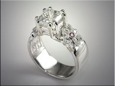 p498  14K White Gold Floral Design Engagement Ring with Diamonds and Rubies
