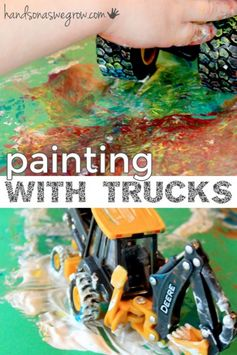 Paint with trucks #momhacks #boycraft