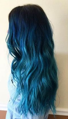 Dark Blue to Light Blue Ombre on Long Hair