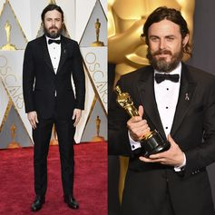 Casey Affleck wearing Louis Vuitton to the 89th Annual Academy Awards where he won the Oscar for Best Actor in a Leading Role for Manchester by the Sea.