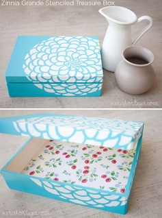 Zinnia Grande stenciled treasure box with Cutting Edge Stencils #CuttingEdgeStencils #stenciling #stencils #stencilpatterns