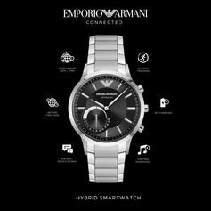 Time to unplug. Our new #EAConnected hybrid smartwatches are powered by coin cell watch batteries, so your watch never needs charging.  Discover the many time-saving functions on emporioarmaniconnected.com