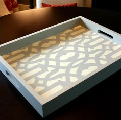 DIY tray for home decor with stencils