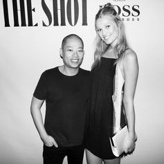 Stunning Toni Garrn wearing a BOSS fringe dress and BOSS Womenswear artistic director and member of The Shot judging panel Jason Wu at the BOSS & W Magazine party in New York