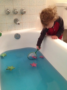 Fishing for sea stars!  Starfish Fun activity for toddlers!  Between a dog and a hard place