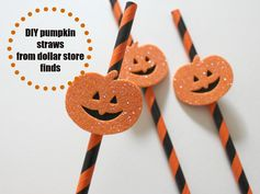DIY PUMPKIN STRAWS USING DOLLAR STORE FINDS