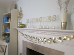 Gelt Garland and Gold Painted Wooden Letters