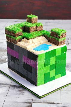 Haniela's: Minecraft Cake, Enderman & Piggie