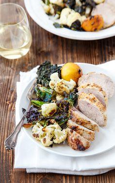 Easy honey mustard pork tenderloin and crispy cauliflower and kale for a nice dinner for two.