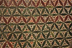 "Multicolor opaque glass ""Cosmati"" pavement in the Westminster Abbey gothic church. London, England, 1268 AC."