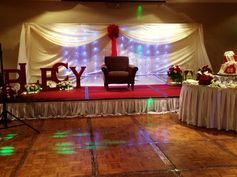 #60thbirthday #redandwhite #events #eventstyling #stagedesign #stagebackdrop #letterstandees #lights #flowers by: mishees