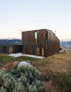 Modern prefab vacation home in Washington facade with steel cladding