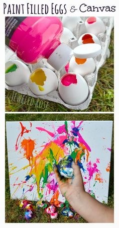 Fill eggs with paint and toss them at canvas.  SO FUN and filling the eggs is so easy! #Easter