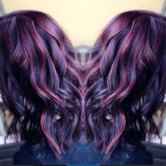 dimensional violet hair. purple and red :: RedBloom Salon