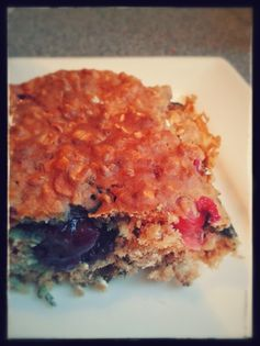 Berry-licious oatmeal bars -  perfect for a toddler dessert or breakfast on the go, very healthy, no added sugars! Blueberry oatmeal cake