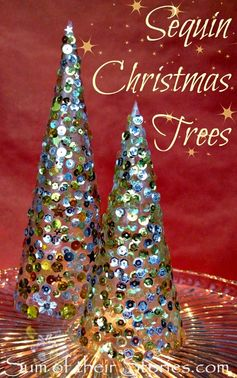 Sequin Christmas Tree Tutorial | sumoftheirstories.com | #decoration #festive #sparkle