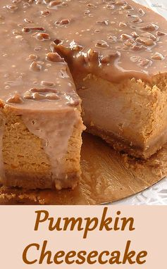 Pumpkin Cheesecake with Caramel Pecan Glaze.   http://www.winnish.net/2012/10/2377/