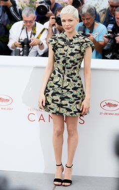 "Michelle Williams wearing Louis Vuitton Cruise 2018 to the photocall of ""Wonderstruck"" during the 70th annual Cannes Film Festival in France"