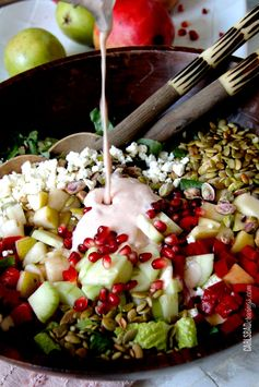 Pomegranate, Pear, Pistachio Salad with Creamy Pomegranate Dressing - A sweet and crunchy salad perfect for lunch.